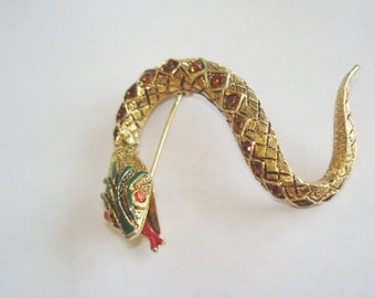 Signed Art Snake Ruby Topaz  Rhinestone Brooch Gold Tones.