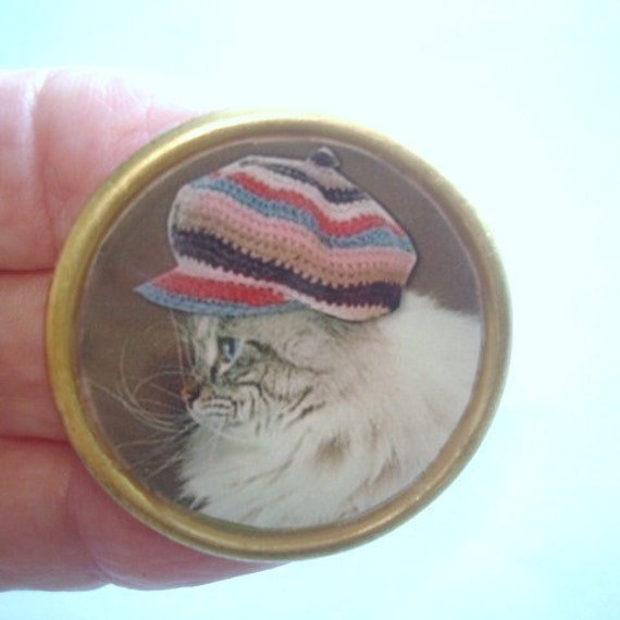 Cat hat vintage jewelry animal brooch kl design by for Cat in the hat jewelry