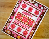 Floral Happy Birthday Handmade Cross Stitch Greetings Card in Brown and Pink