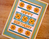 Floral Happy Birthday Handmade Cross Stitch Greetings Card in Green and Yellow