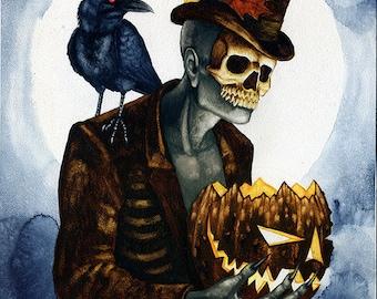 Shadow Man 4 Original Watercolor Painting Halloween Autumn Voodoo Art