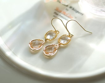 Peach earrings,Peach drop earrings, Peach wedding, Peach and crystal jewelry, Peach Gold earrings, peach teardrop