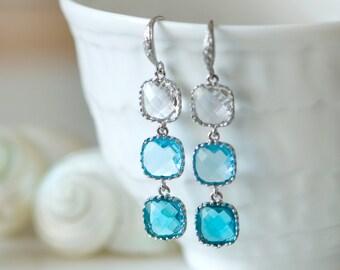 Blue chandelier earrings, Light blue earrings, Blue earrings, Something blue, Beach wedding, Bridesmaids earrings, Bridal earrings, Ombre