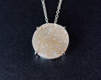 Large Statement Druzy Necklace - Circular Stone