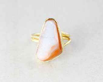 Earthy Agate Druzy Ring - Freeform Shape - Adjustable Ring