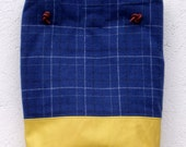 Funky Yellow Leather and Blue Checked Wool Tote with Leather Handles