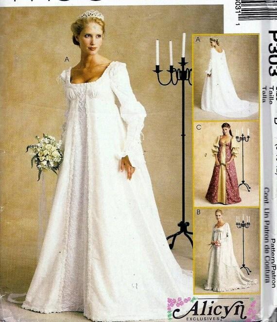 2000s pattern renaissance medieval wedding gowns empire waist for Empire waist wedding dress patterns