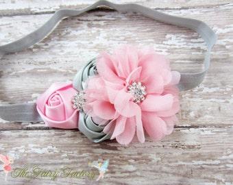 Pink and Gray Headband, Satin & Chiffon Flowers Headband or Hair Clip, Flower Girl Headband, Baby Girls Headband, Newborn Child Headband