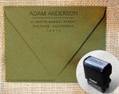 Business Address Stamp 135 - Professional Return Address Stamp Masculine Design, Business Card Stamp, Small business stamp, Gift for Him