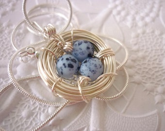 Birds Nest Necklace Blue Eggs Mother Bird Pendant Mom