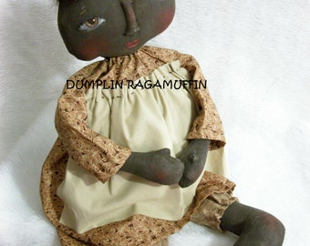 Primitive black doll, PATTERN,  folk art  17 in. fabric doll , Dumplinragamuffin; AB4B, HAFAIR, OFG team