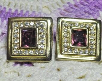 Amethyst Rhinestone Square Earrings (E-1-5)