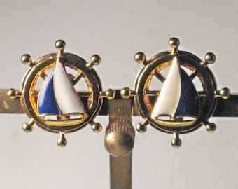 Vintage Nautical Gold Tone Blue White Enameled Sailboat Ship Wheel Clip Earrings (E-2-4)