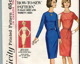 Simplicity 5591 Vintage 60s Plus Size How-to-sew Dress Pattern UNCUT 48 bust