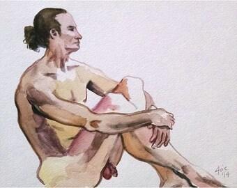Original Mature Male Nude Watercolor Painting - 10x8