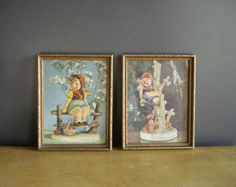 Small Gold Frames III - Set of Two Vintage Wooden Picture Frames - Hummel Figurine Illustrations