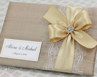 Champagne Wedding Guest Book Custom Made in your Colors