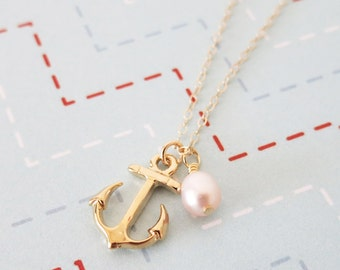 Gold Anchor necklace - simple gold necklace, Freshwater Pearl, Anchor, mentor, bridesmaids, best friends, sisters, mum, navy