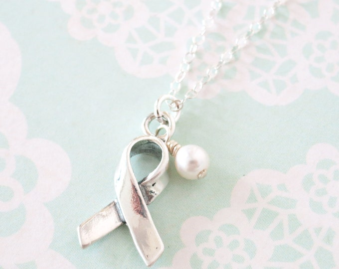 Awareness Ribbon Necklace - Sterling Silver Necklace, Cancer Awareness Jewelry, Be strong Gift, Cancer ribbon necklace