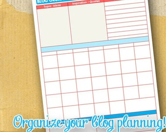 Blog Organizing Form / DIY / Printable / 8.5x11