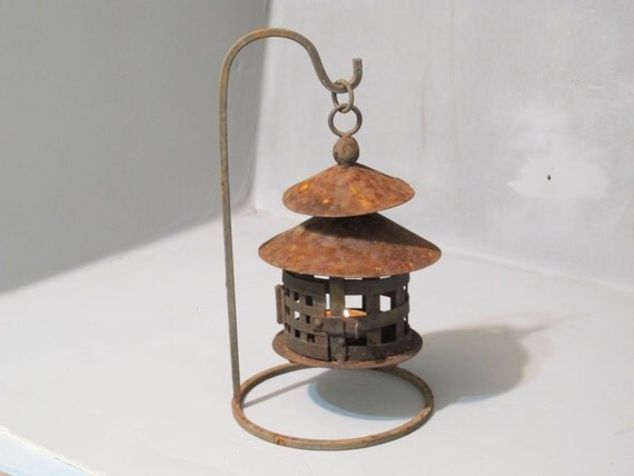 Vintage Rusty Metal Tin Lantern With Stand Votive By