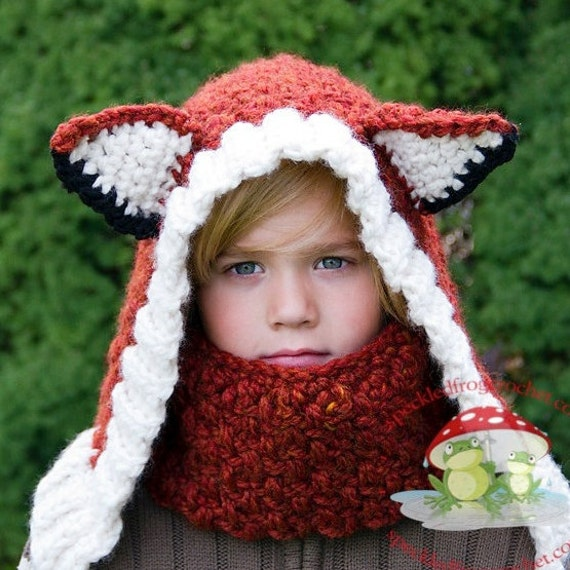 CROCHET HOOD PATTERN Timberland Fox Hood and Cowl 1 Year to Ladies
