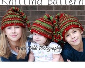Festive Knitted Christmas Hat with Jingle Bells-KNITTING PATTERN- stocking hat Size newborn to adult, permission to sell finished hat