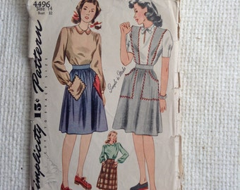 Vintage 1940's Woman's Skirt and Blouse sewing pattern.  Simplicity.  Size 14.   No. 4496.