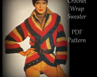 Crochet Circle Wrap Sweater - Women - PDF 01262568