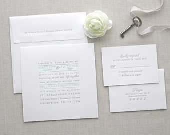 Letterpress Wedding Invitation - Text Block Design - Calligraphy, Modern, Elegant, Simple, Classic, Typographic, Custom, Formal, Square