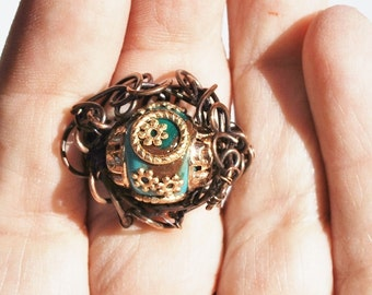Copper Wire Weave Beaded Ring