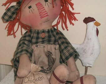 Primitive Annie with her Rooster