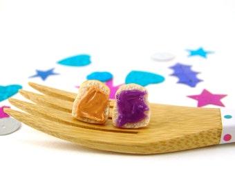 Sandwich Earrings PB and J Earrings, Grape Jelly - Clip On or Post Earrings MADE to Order