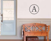20x20 Initial wall decal, Monogram Letter wall decal, scallop circle frame, bedroom decor, nursery wall decal, vinyl lettering (W00922)