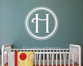 Harlequin Diamond Monogram, Circle Frame, Fancy monogram decal, Initial wall decal, Nursery letters, Teen Bedroom, vinyl lettering LL0940