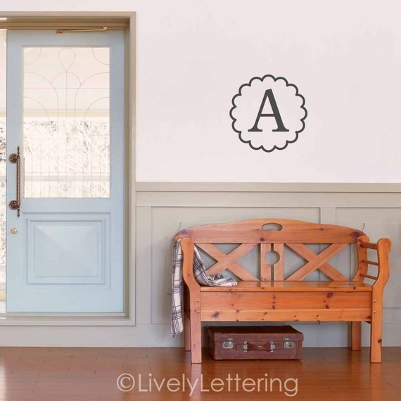 Wall Decor 20x20 : Initial wall decal monogram letter scallop