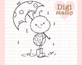 Puddle Bug Ladybug Digital Stamp for Card Making, Paper Crafts, Scrapbooking, Hand Embroidery, Invitations, Stickers, Coloring Pages