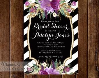 Amethyst Flowers Bridal Shower Invitation, Black and White Stripes Bridal Shower Invitation, Lavender Flowers, Printable Invitation