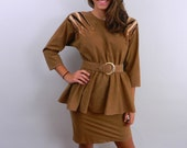 1980s Dress with Peplum ... Vintage 80s Faux Suede Dress with Beads and Belt .... Size Small to Medium