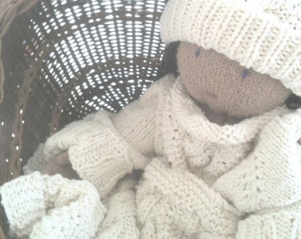 Cable Knit Baby Set - Hat, Sweater and Blanket - 3 Piece Set - Cotton - Offwhite - Aran