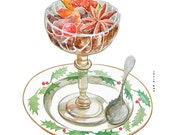 Christmas compote food watercolor drawing