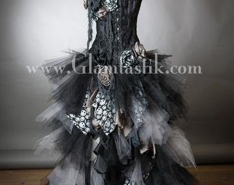Jack Skeleton Custom Size Black and gray High Low tulle Burlesque Corset Nightmare before Christmas Dress Small-XL