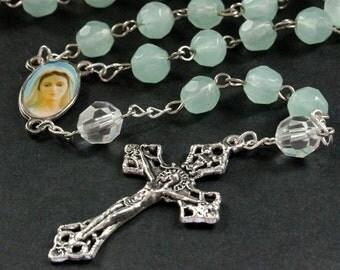 Seafoam Crystal Rosary. Aqua Rosary. Beaded Rosary. Handmade Rosary. Seafoam Green Rosary. Aqua Green Rosary. Handmade Rosaries Prayer Beads