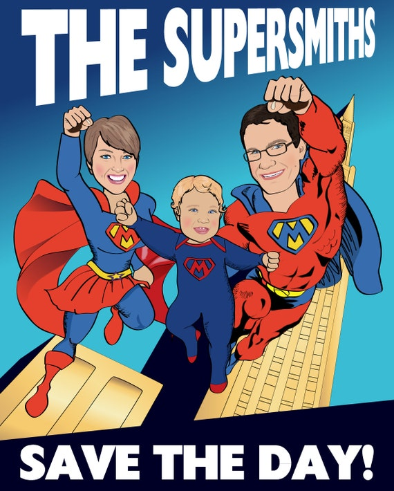 Family Superhero Print - Personalized Superhero Print  with 3 Superheroes - Illustrated from your photos-  PRINTABLE FILE
