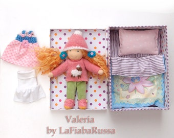 waldorf mini Doll Valeria play set, classic cloth doll, sweater,  and many acessories