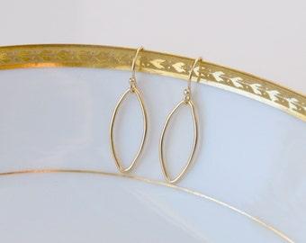 Gold earrings, minimalist gift for women, oval, thin, leaf, marquis, diamond, gold hoop earrings, simple jewelry, littleglamour - Chloe