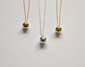 Ball necklace, gold ball, rose gold ball, sterling silver ball, womens gift, tiny, solid, round pendant, simple jewelry - Fiona