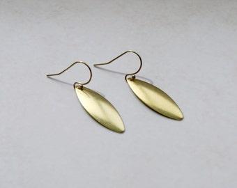 Gold petal earrings, brass, oval, drop earrings, gold earwires, womens gift, spike, simple earrings, modern jewelry - dusk