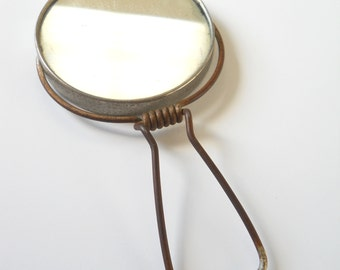 Vintage Travel Mirror • Vintage Mini Shaving Mirror • Vintage Hand Mirror