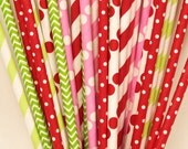 Paper Straw, 25 STRAWBERRY SHORTCAKE Party Straws, Pink Lemonade Party, Mason Jar Straws, Strawberry Patch Party, Sunbonnet Girls, Tea Party